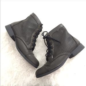Perforated Olive Green Combat Boots